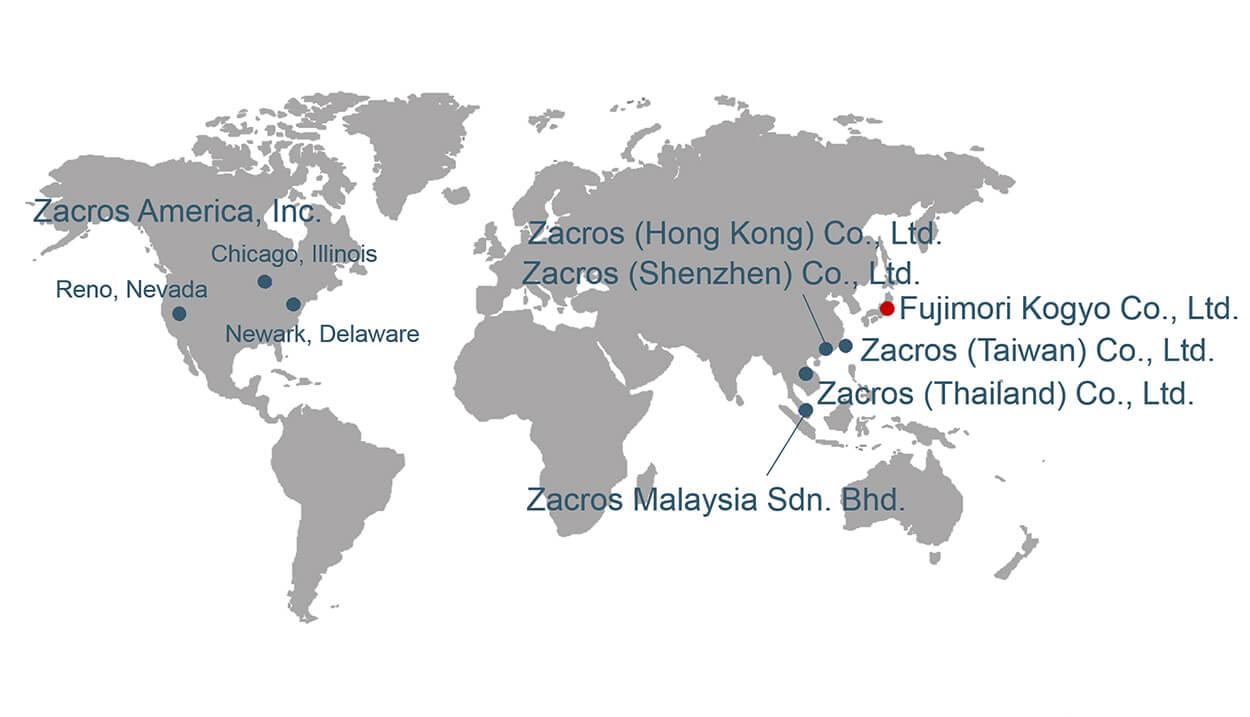 Zacros locations around the world